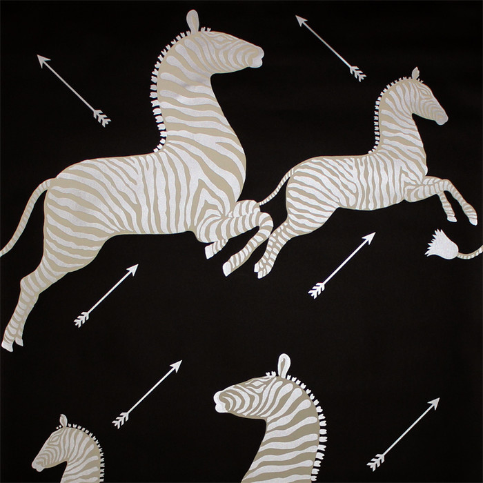 Scalamandre Zebras Wallpaper Black & Silver - 2 Roll Minimum Order