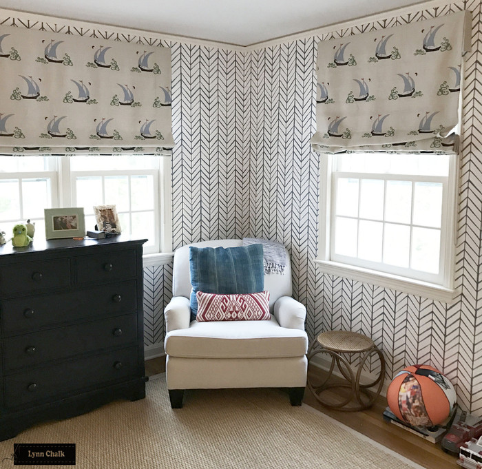 """Roman Shades in Beetlecat Lavender.  Double Wide Shade is 62"""" Wide and Single Width Shade is 42"""" Wide."""