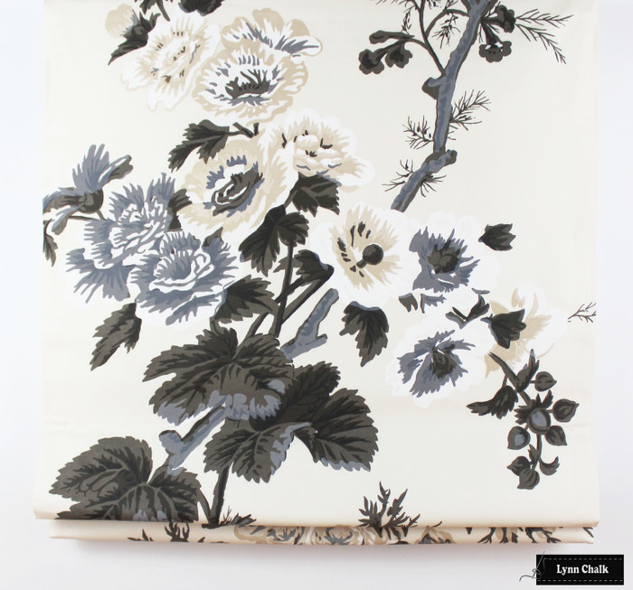 Roman Shade in Pyne Hollyhock Print in Charcoal