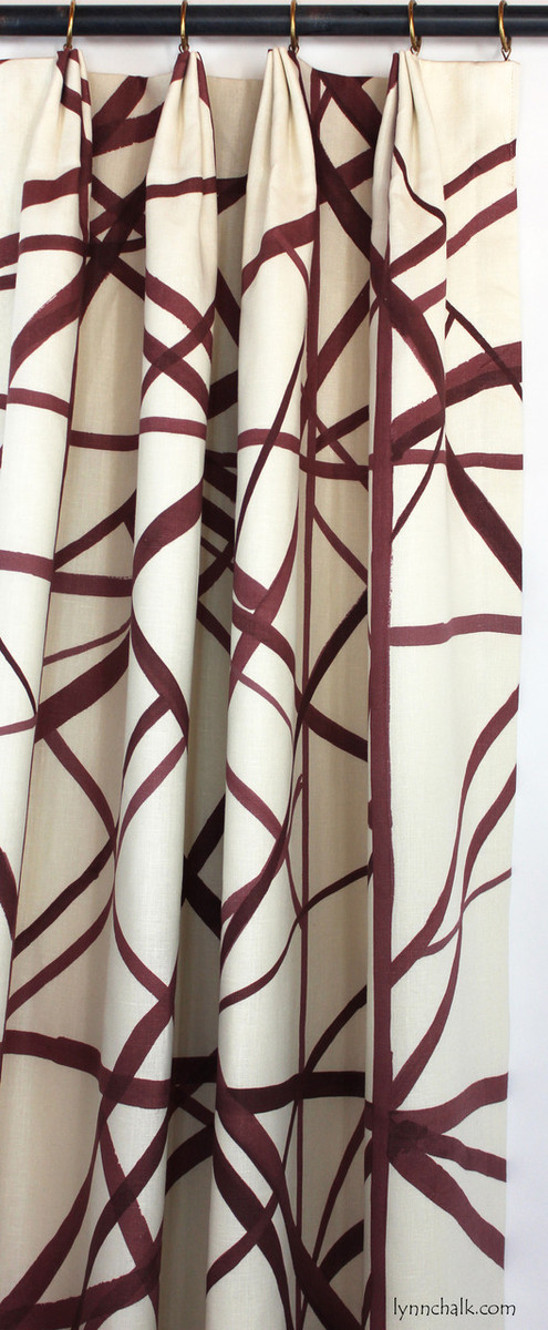 Custom Euro Pleated Drapes Single Width in Kelly Wearstler Channels in Ebony/Ivory