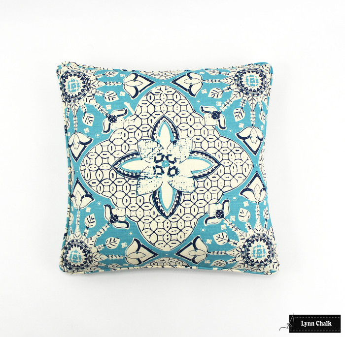 Quadrille New Batik Turquoise Navy Pillow with Self Welting 16 X 16