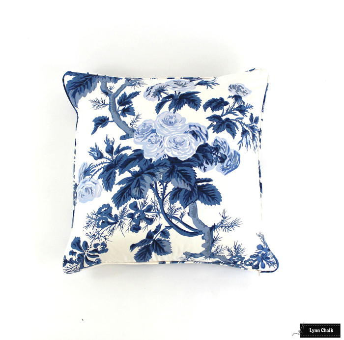Custom Pillows in Hollyhock Print in Indigo with self welting (shown as 22 X 22)
