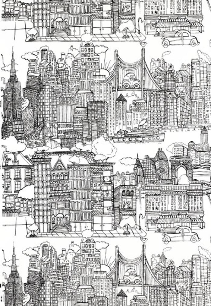 Schumacher New York,  New York Fabric Black on White  2643410 - 2 Yard Minimum