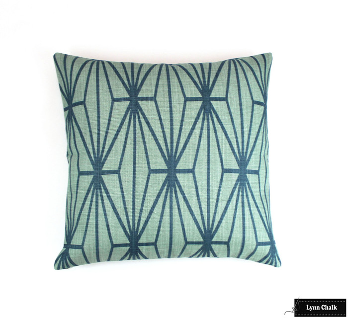 Kelly Wearstler for Lee Jofa Katana Custom Pillows in Jade/Teal (also comes in Ebony/Ivory)