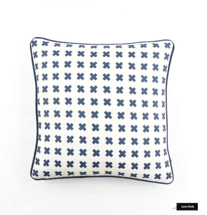 ON SALE Quadrille China Seas Cross Check Pillow (Both Sides- 18 X 18  in Navy on Tint with Navy Welting) There are only 3 remaining at this Sale Price.
