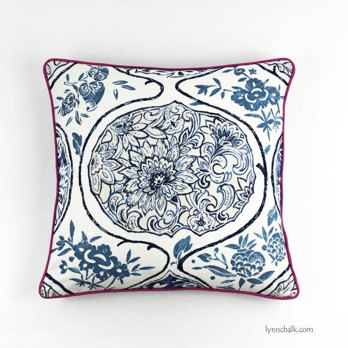 Katsugi Blues 20 X 20 Pillow with Robert Allen Lustre Sheen Fuchsia Welting
