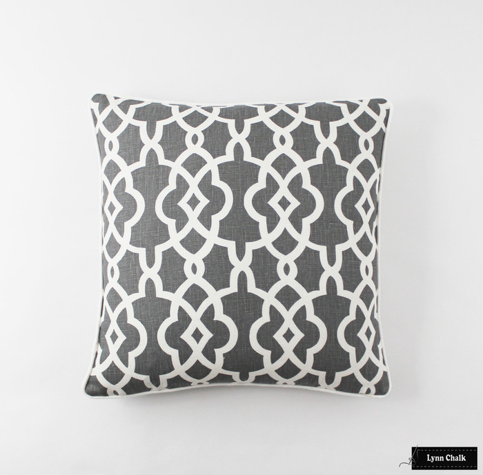 Summer Palace Fret Pillow in Smoke (20 X 20-additional option with welting added)
