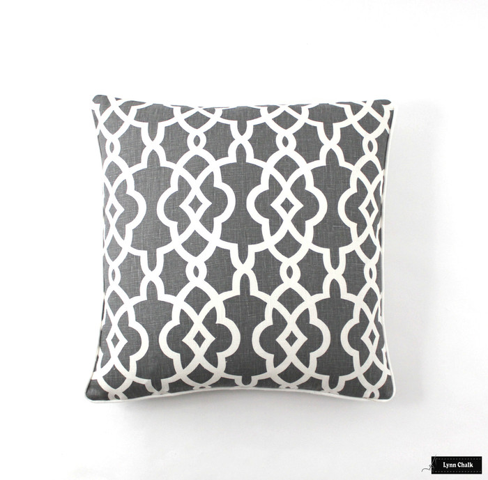 ON SALE 50% Off -Schumacher Summer Palace Fret Pillows in Smoke with Off White Welting (Both Sides-18 X 18) Made To Order