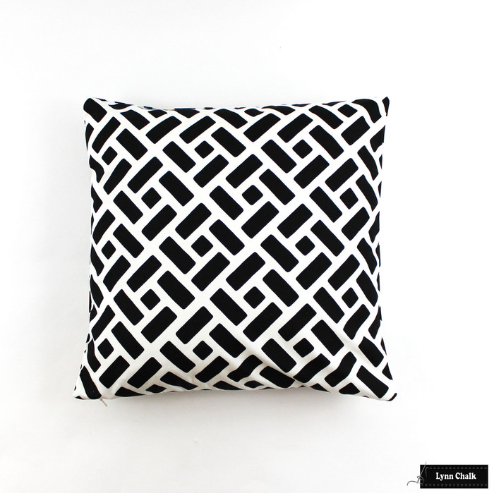 Pillow in Quadrille Edo Grande Black on White (White background is a custom order)