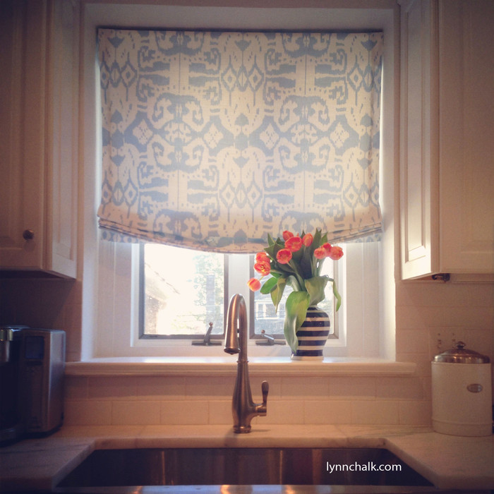 Custom Roman Shade in Quadrille Island Ikat in Zibby Blue