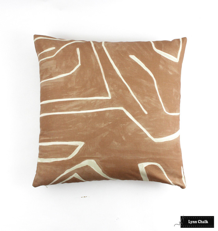 Kelly Wearstler for Lee Jofa Graffito Knife Edge Pillows in Salmon/Cream (comes in several colors)