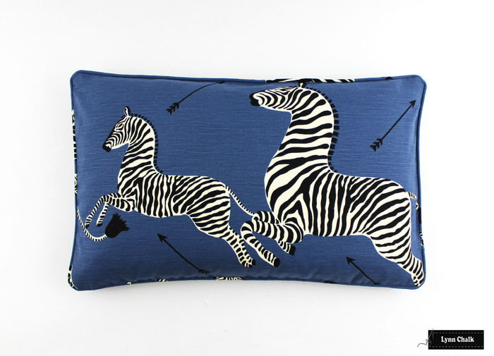 Zebras in Denim Blue Pillows with Self Welting (16 X 26)