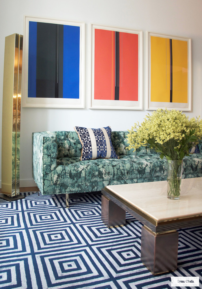 Sofa in Kelly Wearstler Mineral.  Custom Pillow in Designers Guild William Yeoward Septima FWY2228 01 with Samuel & Sons Swiss Velvet Piping Copper CT-57103-447 by Lynn Chalk (Room Designed by Amanda Walker)