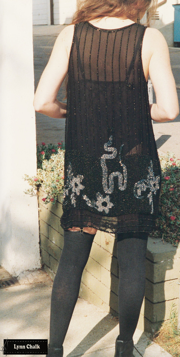 One-of-a-kind Hand Beaded Serpent, Spider and Flower Dress by Lynn Chalk with Black and Silver Beads on Silk Chiffon