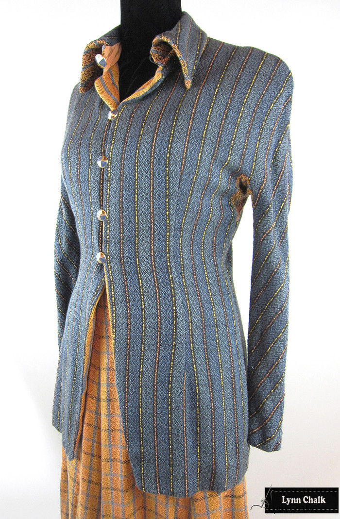 Handwoven Jacket and Skirt.  Yarns were hand dyed before weaving in silk and rayon.  Jacket and Skirt woven, designed and sewn by Lynn Chalk.