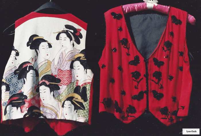 Red Silk Chiffon Hand Beaded Vest with Japanese Silk Screen Back