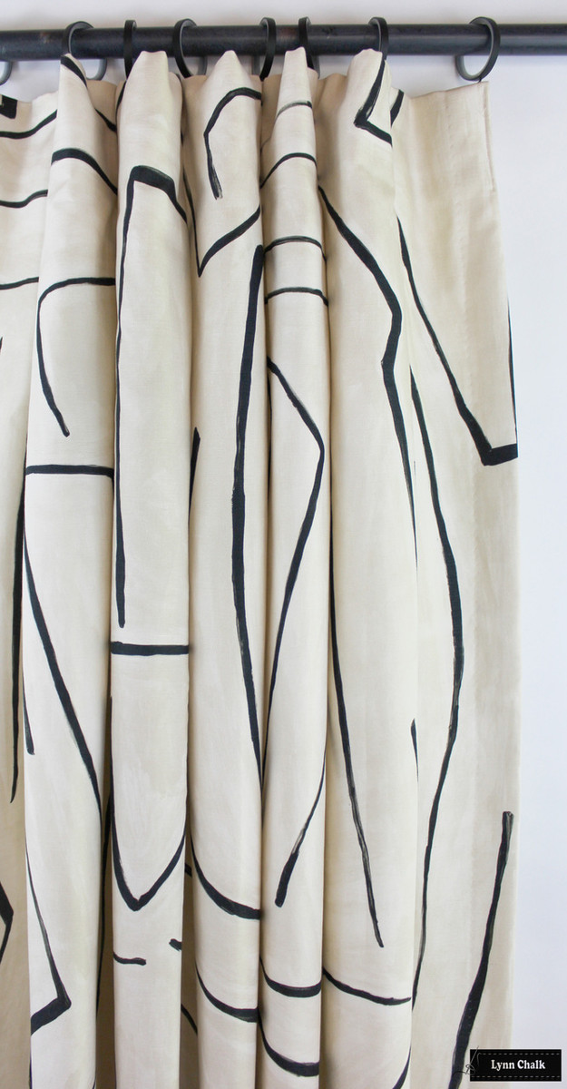 Drapes in Kelly Wearstler Graffito in Linen/Onyx