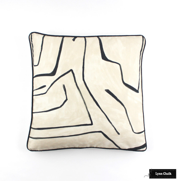 ON SALE 50% Off - Kelly Wearstler for Lee Jofa Graffito 18 X 18 Pillow in Linen/Onyx GWF-3530.18 with Black Welting (Both Sides) Made To Order