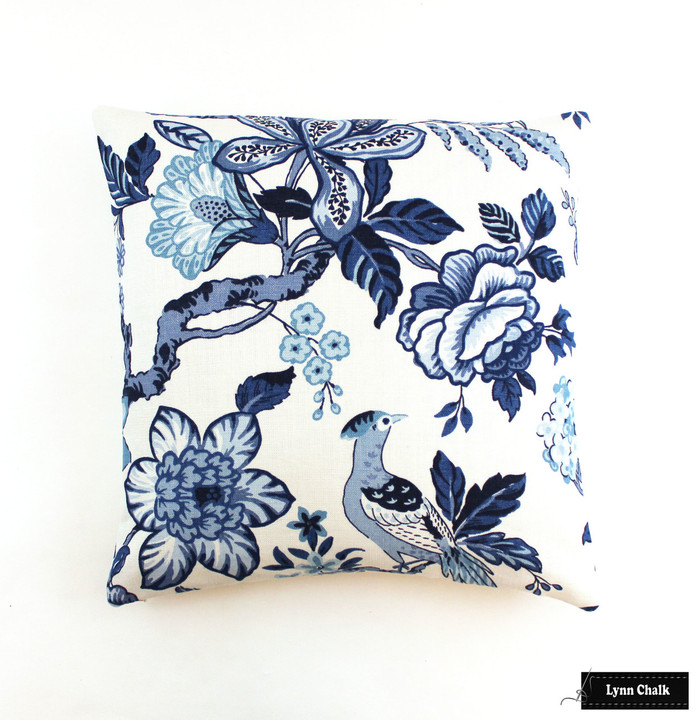 Schumacher Huntington Gardens Bleu Marine 20 X 20 Pillow