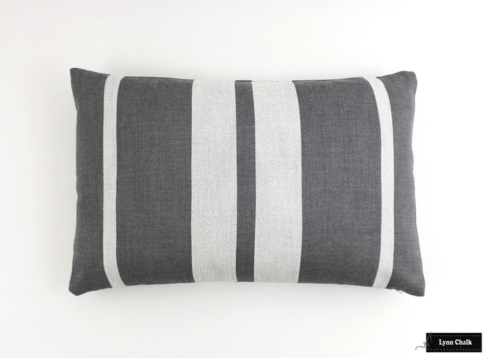 Pillow in Little Big Stripe in Flint (14 X 24)