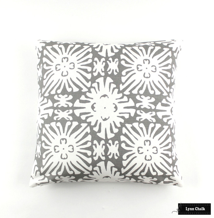 Quadrille Sigourney Reverse Grey on White Small Scale Pillow 18 X 18