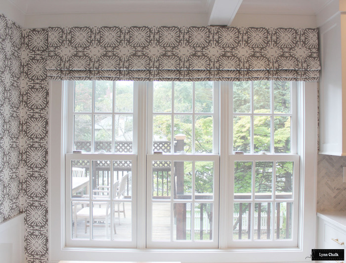 Quadrille Sigourney Reverse Grey on White Small Scale Roman Shade and Matching Wallpaper