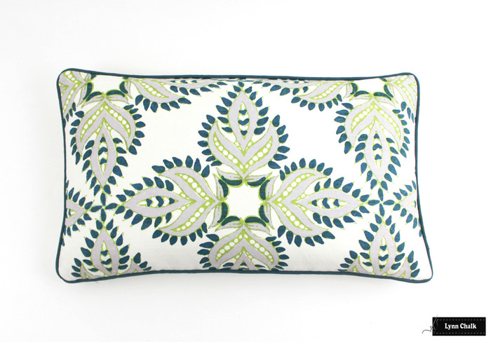 ON SALE-John Robshaw Diba Peacock Pillows with Samuel & Sons Peacock Welting (Both Sides-14 X 24)