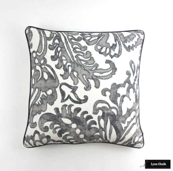 Pillow in Tremezzo Damask Graphite (24 X 24) with Dark Grey Welting