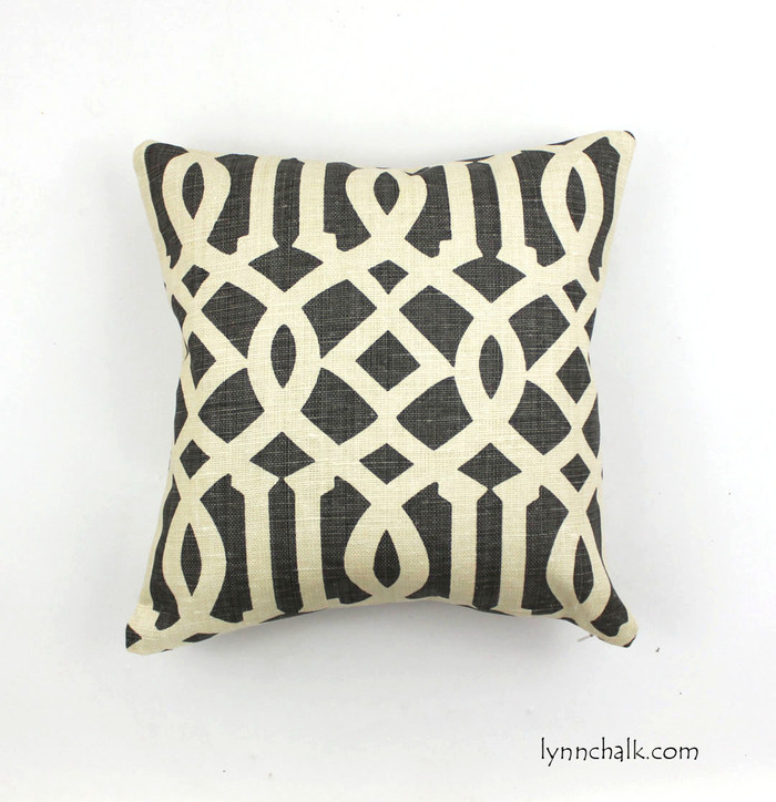 ON SALE 65% Off - Schumacher Imperial Trellis Midnight Charcoal Grey Pillow - (Both Sides-Made to Order)