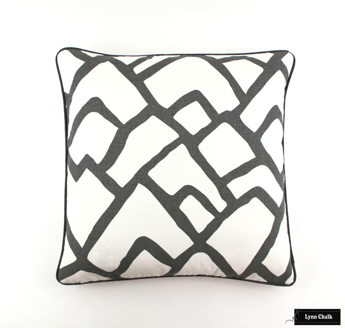 Pillow in Zimba Charcoal Grey with Dark Grey Welting 24 X 24