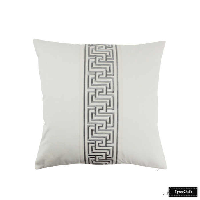 Schumacher Mary McDonald Labyrinth Tape Custom Pillow (shown in Platinum -comes in several colors) 2 Pillow Minimum Order
