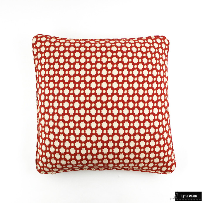 ON SALE Schumacher Celerie Kemble Betwixt Pillows in Spark Orange with Welting (20 X 20) Only 2 Pillows Remaining at this Sale Price