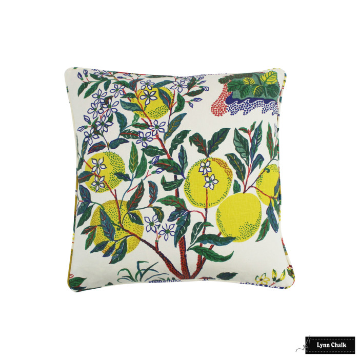 Custom Pillow In Citrus Garden Primary with self welting (22 X 22)