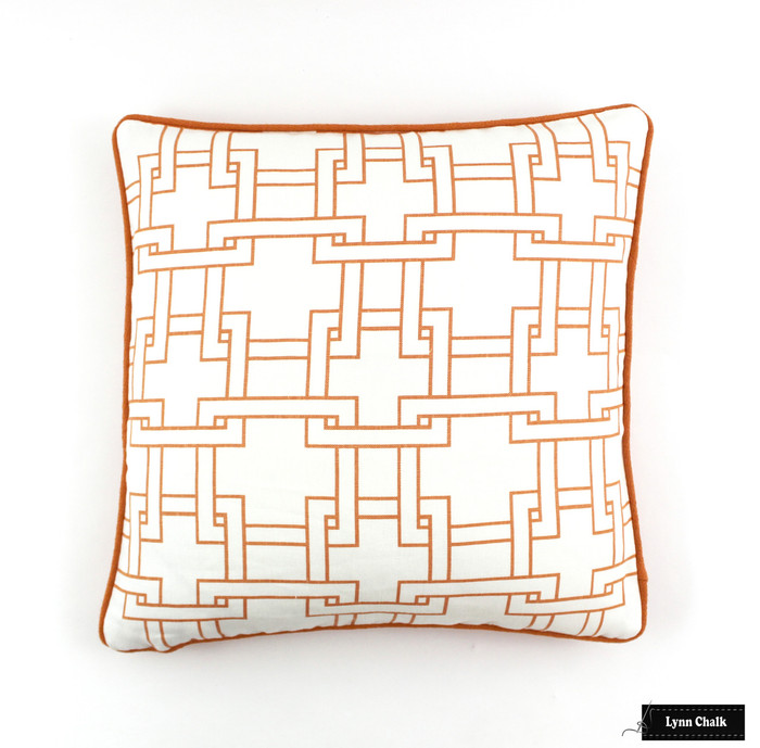 ON SALE Kravet Thom Filicia Citysquare in Terratone Pillows with Orange Welting (20 X 20) This color is discontinued -Only 2 pillows remaining
