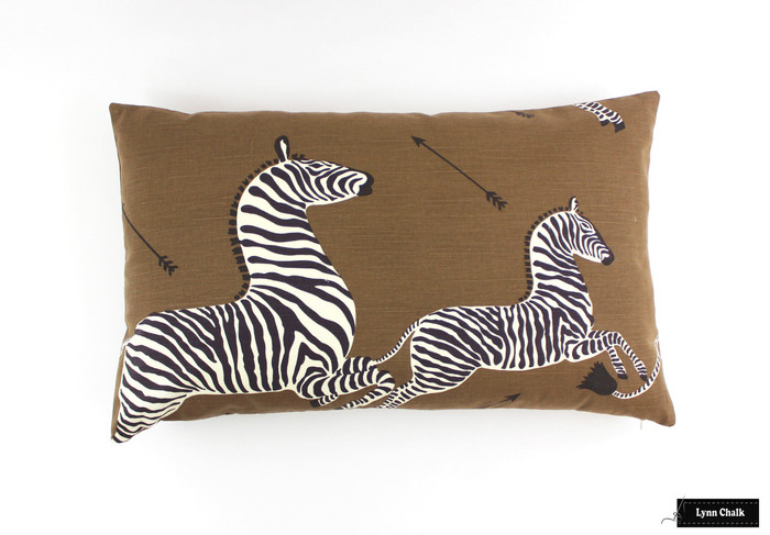 Zebras in Safari Brown Knife Edge Pillow (16 X 26)