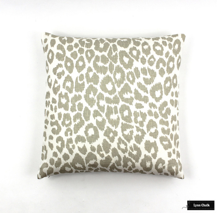 Custom Knife Edge Pillow in Iconic Leopard in Linen