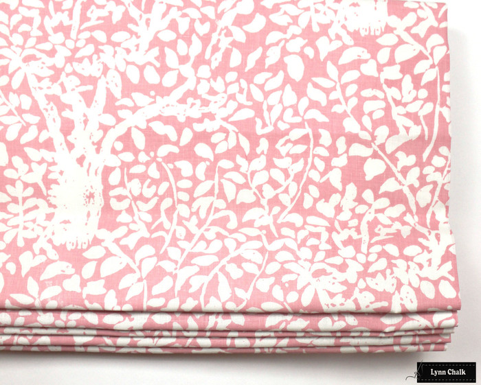 Quadrille Arbre De Matisse Reverse Roman Shade in Girls Room (shown in Soft Pink on White -comes in many colors)