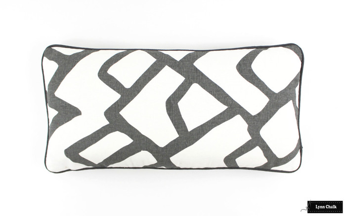 """ON SALE Schumacher Zimba in Charcoal Grey Pillow Cover 12 X 24""""  (Both Sides) Only 1 Remaining at this Sale Price"""