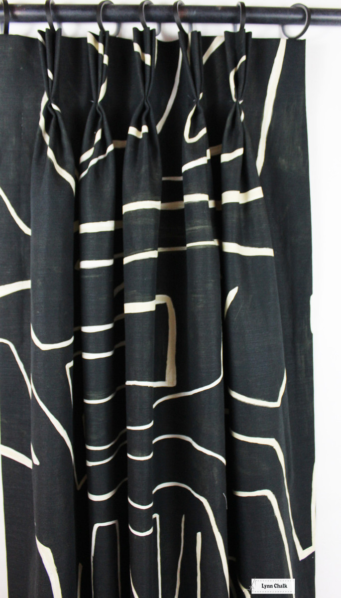 Kelly Wearstler for Lee Jofa Graffito Drapes (shown in Onyx/Beige-comes in several colors)