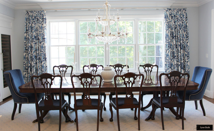 Schumacher Huntington Gardens Drapes in Dining Room (shown in Bleu Marine-comes in other colors)