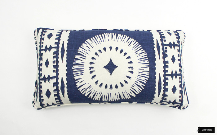 ON SALE 55% Off - Schumacher Mary McDonald Bora Bora Print Knife Edge Pillow in Marine (Front Only - 12 X 22) Made To Order