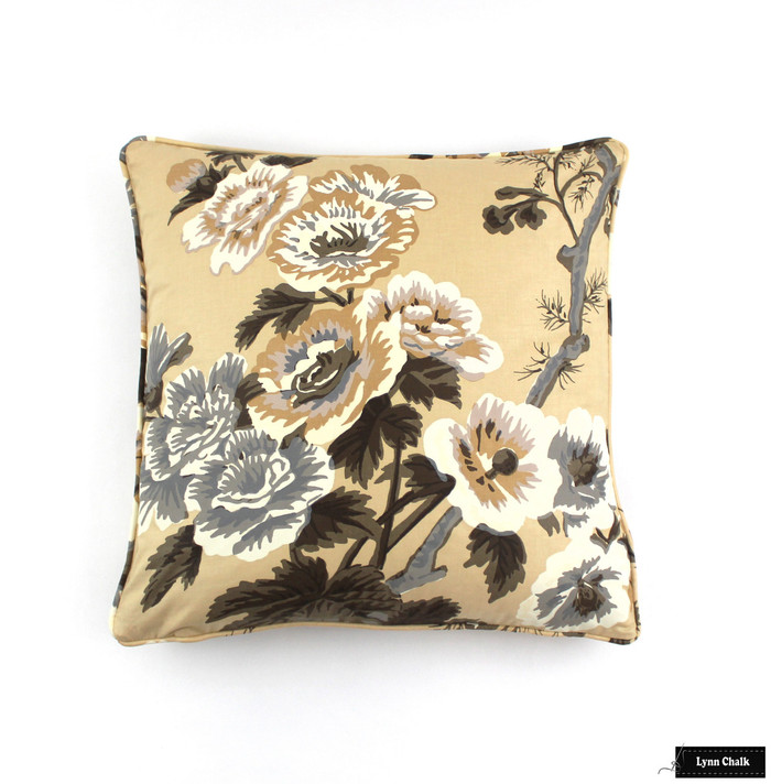 Pillows in Hollyhock Print in Tobacco with Self Welting (18 X 18)