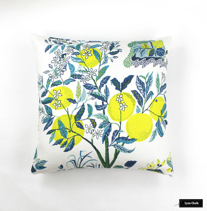 Custom Knife Edge Pillow In Citrus Garden Pool  (22 X 22)