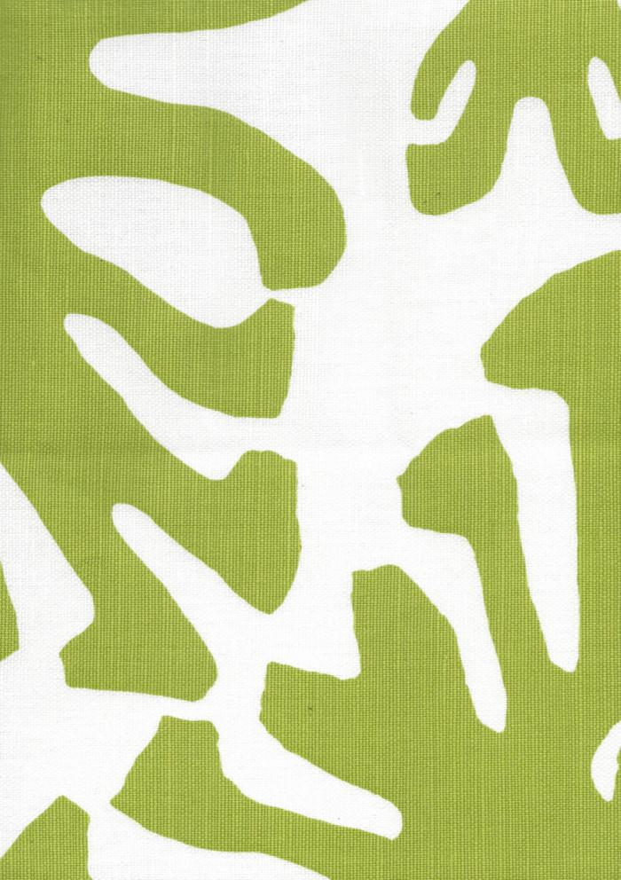 Quadrille Sigourney Large Scale Fabric Jungle Green on White 2470 06