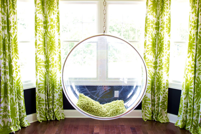 Quadrille Sigourney Large Scale Drapes in Jungle Green (Alisha Gwen-HGTV)