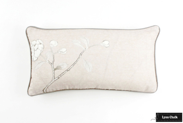 ON SALE Schumacher Mary McDonald Chinois Palais Pillow Blush Conch with Grey Welting (Front Only-12 X 22)