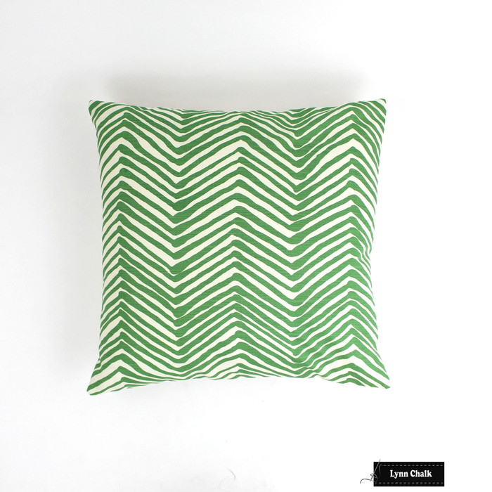 ON SALE Quadrille Alan Campbell Zig Zag Pillows in Leaf Green on Tint (Front Only - 22 X 22)