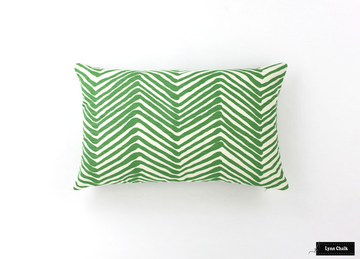 ON SALE Quadrille Alan Campbell Zig Zag Pillows in Leaf Green on Tint (Both Sides - 14 X 22)