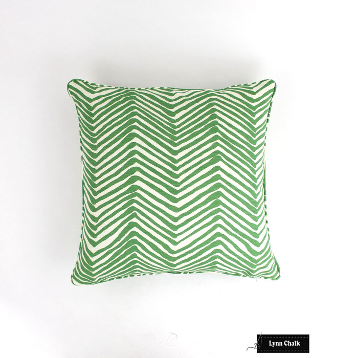 Quadrille Alan Campbell Zig Zag Custom Pillows with Piping/Welting- (Shown in Leaf on Tint-Comes in 15 Colors) Contact Me To Order