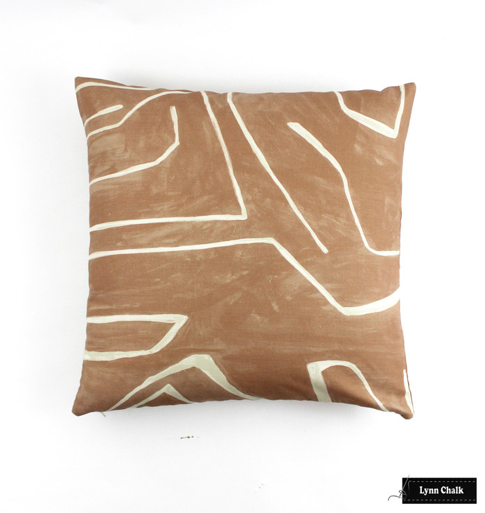 ON SALE 50% Off - Kelly Wearstler Graffito 20 X 20 Pillow in Salmon/Cream (Both Sides) Made To Order